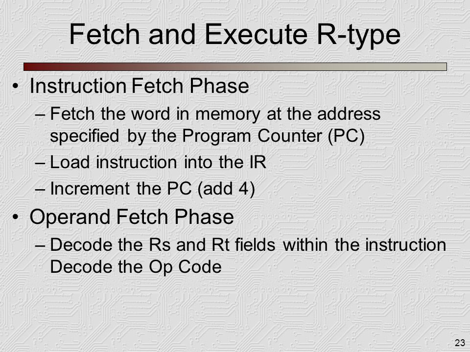 23 Fetch and Execute R-type Instruction Fetch Phase –Fetch the word in memory at the address specified by the Program Counter (PC) –Load instruction i