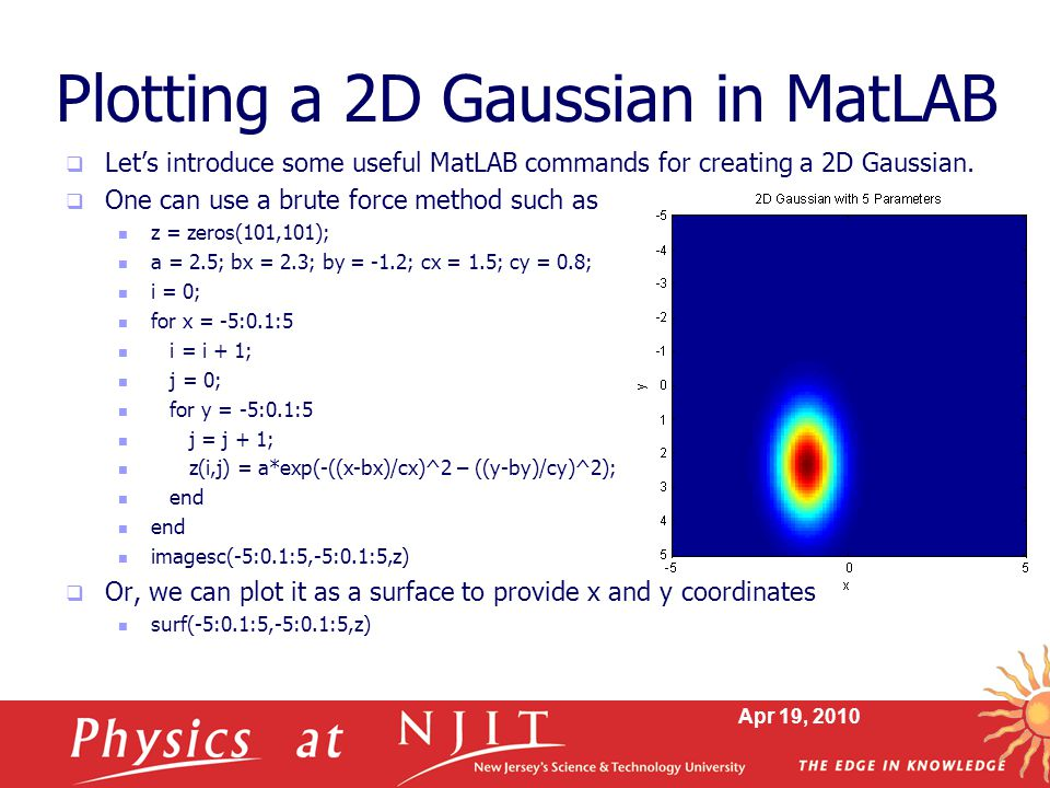 Apr 19, 2010 Plotting a 2D Gaussian in MatLAB  Let's introduce some useful MatLAB commands for creating a 2D Gaussian.