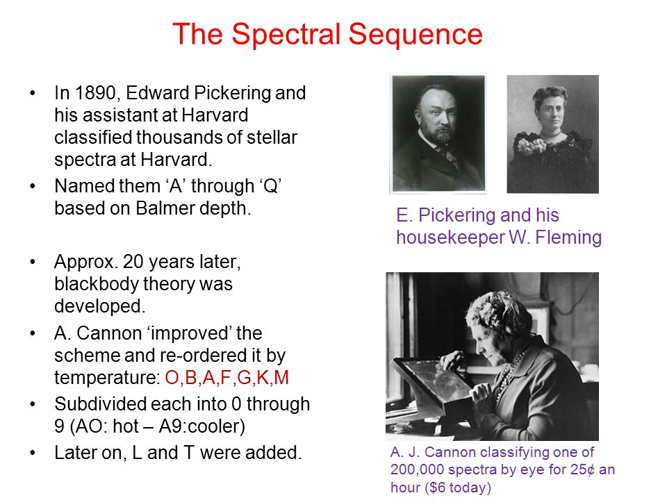 The Spectral Sequence In 1890, Edward Pickering and his assistant at Harvard classified thousands of stellar spectra at Harvard.