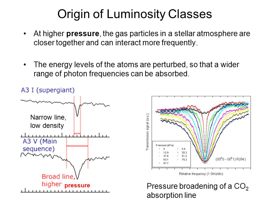 Origin of Luminosity Classes At higher pressure, the gas particles in a stellar atmosphere are closer together and can interact more frequently.