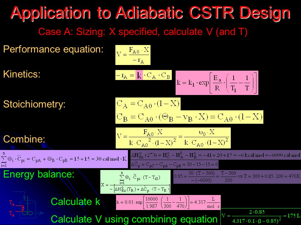 Application to Adiabatic CSTR Design Case A: Sizing: X specified, calculate V (and T) Performance equation: Kinetics: Stoichiometry: Combine: Energy b