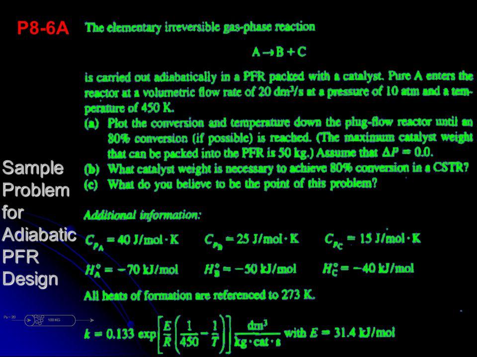 Sample Problem for Adiabatic PFR Design P8-6A