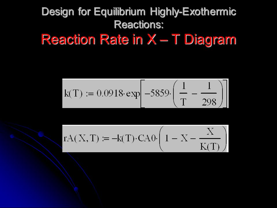 Design for Equilibrium Highly-Exothermic Reactions: Reaction Rate in X – T Diagram
