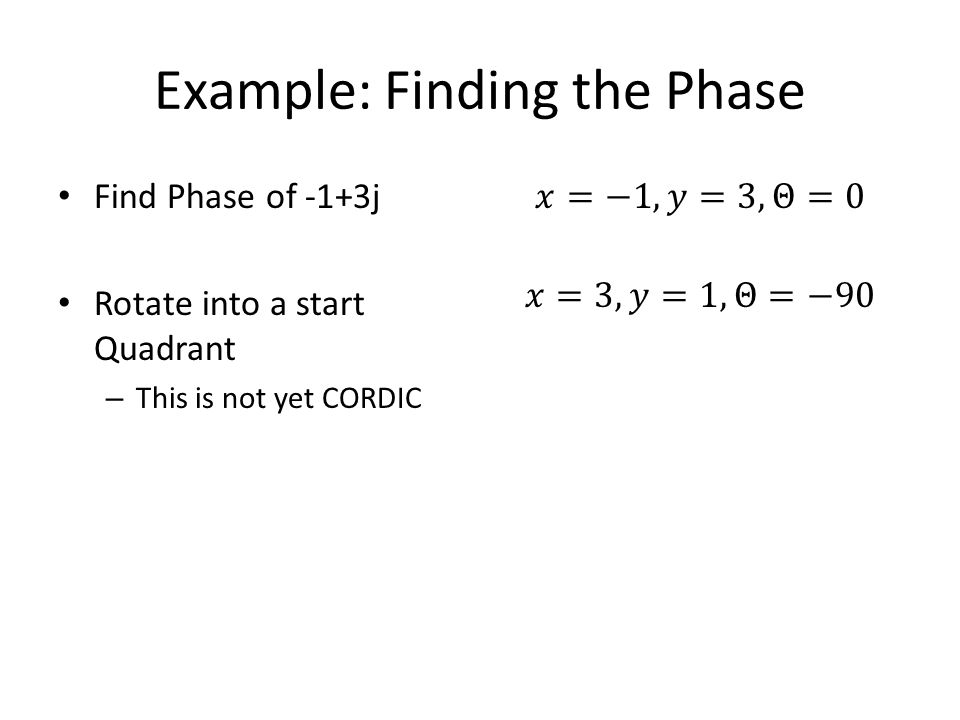Find Phase of -1+3j Rotate into a start Quadrant – This is not yet CORDIC