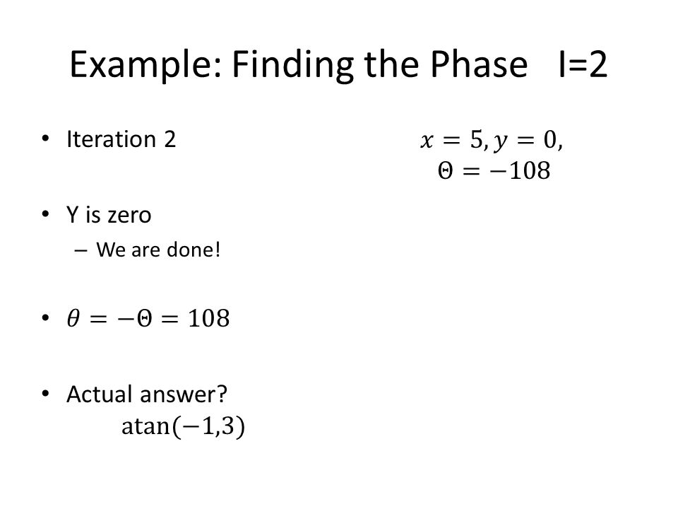 Example: Finding the Phase I=2