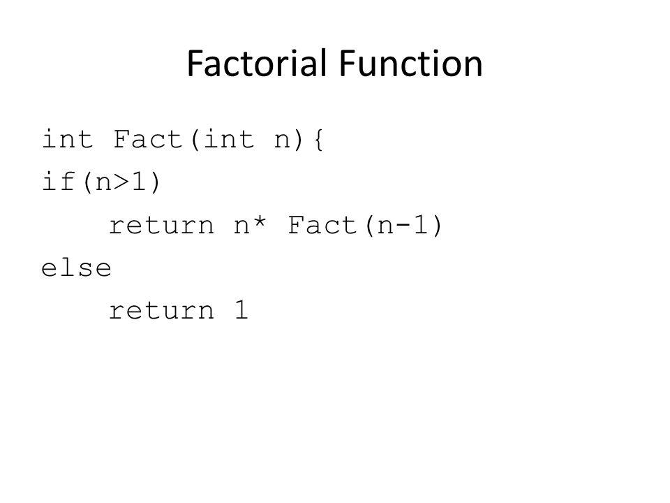 Factorial Function int Fact(int n){ if(n>1) return n* Fact(n-1) else return 1