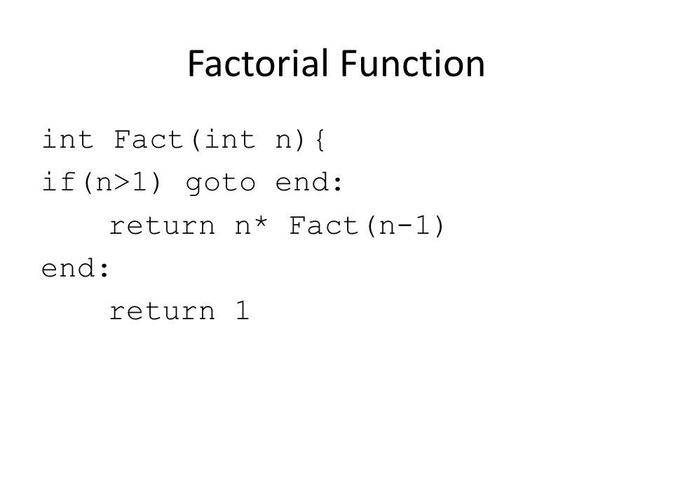 Factorial Function int Fact(int n){ if(n>1) goto end: return n* Fact(n-1) end: return 1
