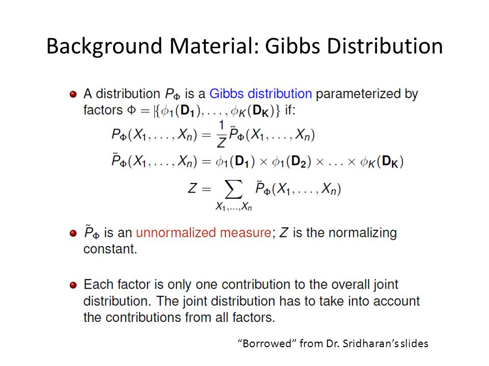 Distribution Perspective Suppose is a distribution for Bayesian network B with associated graph G The parameterization of B can directly become a Gibbs Distribution.