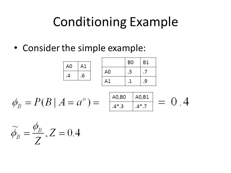 Conditioning Example Consider the simple example: B0B1 A0.3.7 A1.1.9 A0A1.4.6 A0,B0A0,B1.4*.3.4*.7