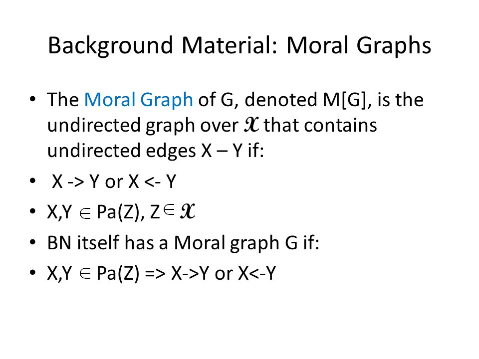 Moral Graph Example DifficultyIntelligence Grade SAT Letter DifficultyIntelligence Grade SAT Letter Job Adapted from Student example in KF book GH