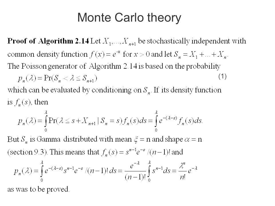 Monte Carlo theory (1)