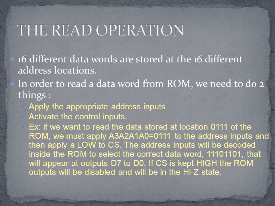 16 different data words are stored at the 16 different address locations.