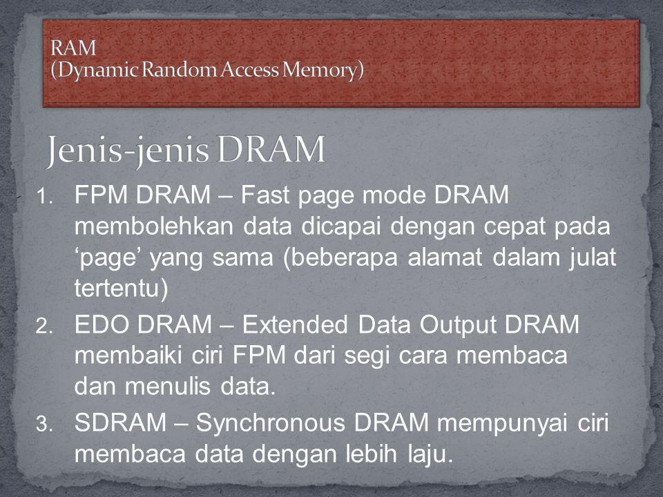 1. FPM DRAM – Fast page mode DRAM membolehkan data dicapai dengan cepat pada 'page' yang sama (beberapa alamat dalam julat tertentu) 2. EDO DRAM – Ext