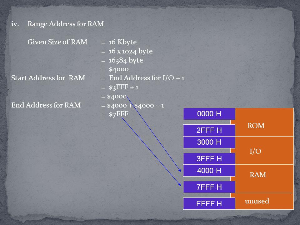 iv.Range Address for RAM Given Size of RAM = 16 Kbyte = 16 x 1024 byte = 16384 byte = $4000 Start Address for RAM = End Address for I/O + 1 = $3FFF +