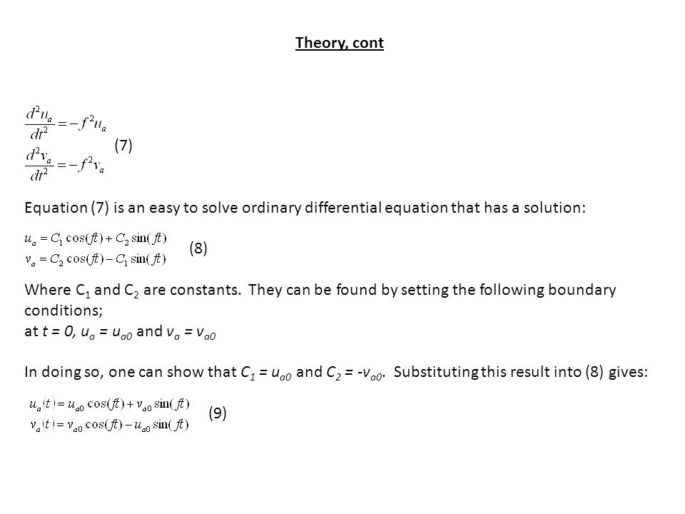 Theory, cont (9) Using trig rules, equation (9) can be written as: (10) where: and  o is the orientation of the ageostrophic flow at t = 0.