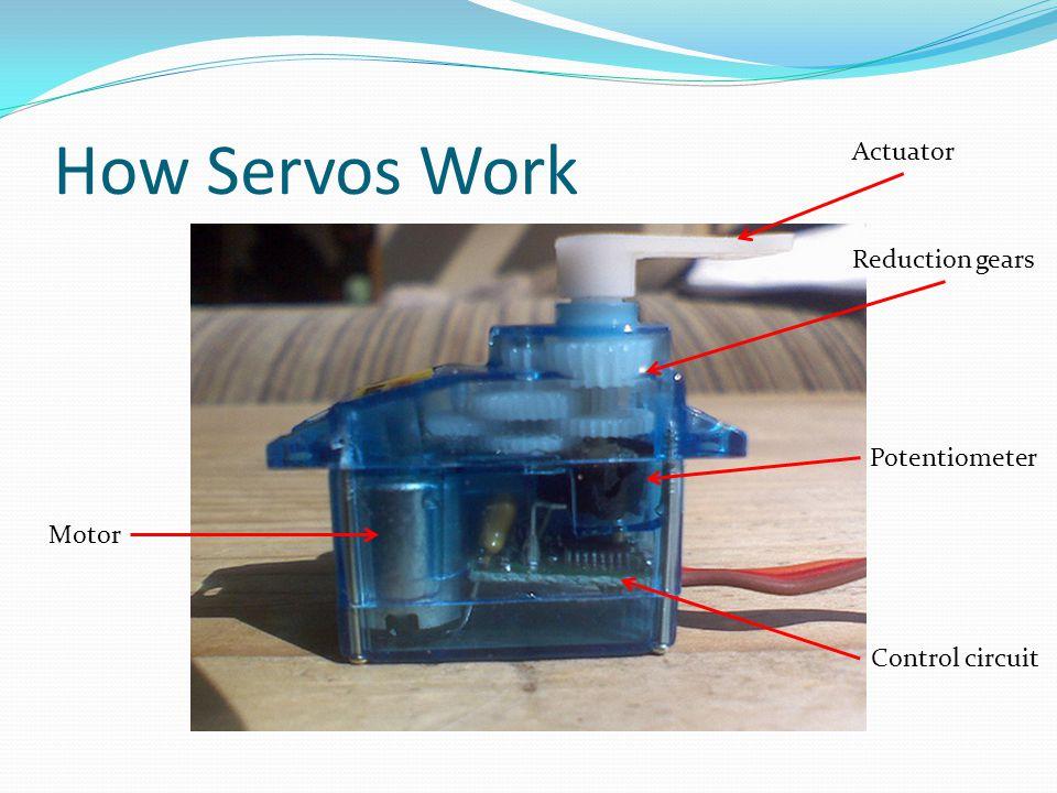How Servos Work Motor Reduction gears Potentiometer Control circuit Actuator