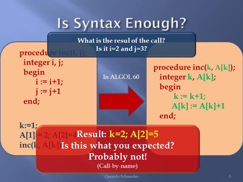 3Gerardo Schneider procedure inc(i, j); integer i, j; begin i := i+1; j := j+1 end; k:=1; A[1]:= 2; A[2]=4; inc(k, A[k]); procedure inc( k, A[k] ); integer k, A[k]; begin k := k+1; A[k] := A[k]+1 end; In ALGOL 60 Result: k=2; A[2]=5 Is this what you expected.