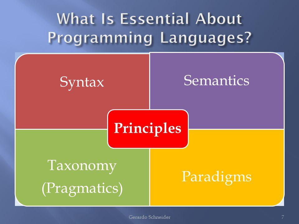 Syntax Semantics Taxonomy (Pragmatics) Paradigms Principles 7Gerardo Schneider