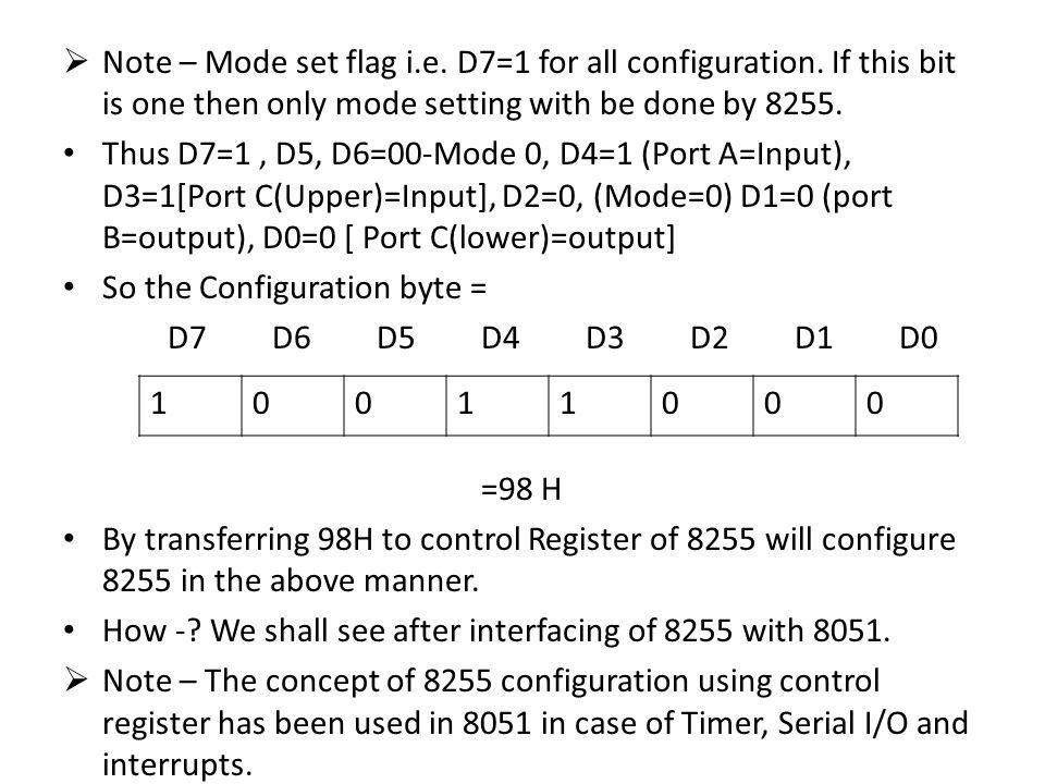  Note – Mode set flag i.e.D7=1 for all configuration.