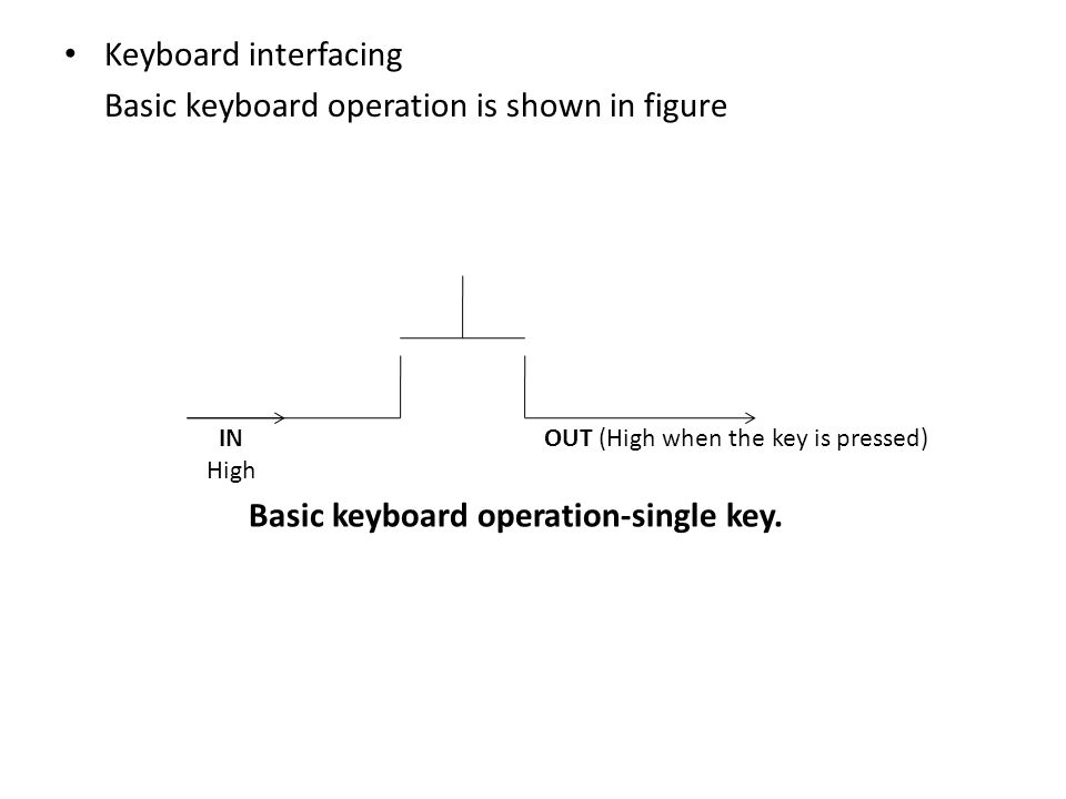 Keyboard interfacing Basic keyboard operation is shown in figure IN High OUT (High when the key is pressed) Basic keyboard operation-single key.
