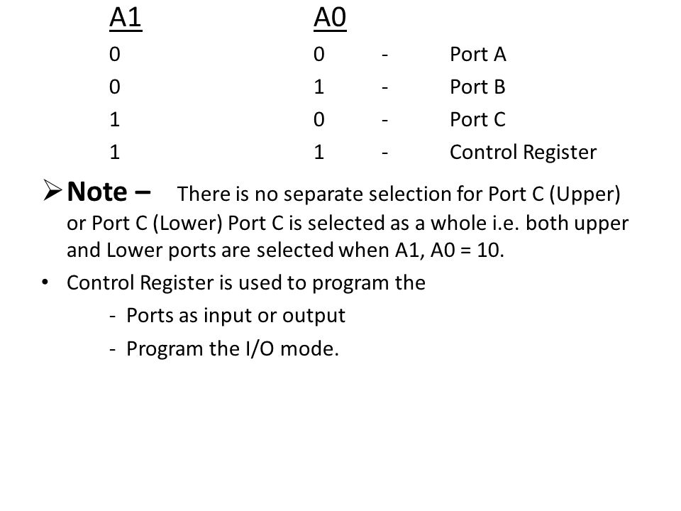 A1A0 00-Port A 01-Port B 10-Port C 11-Control Register  Note – There is no separate selection for Port C (Upper) or Port C (Lower) Port C is selected as a whole i.e.