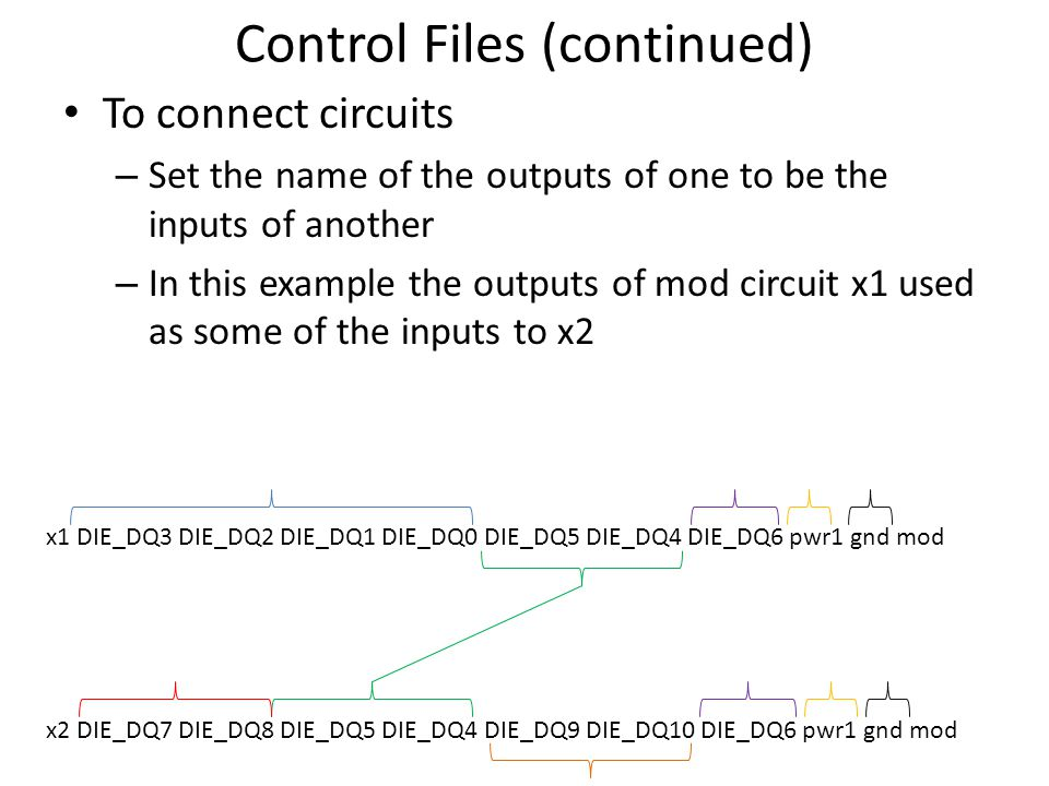 Control Files (continued) To connect circuits – Set the name of the outputs of one to be the inputs of another – In this example the outputs of mod ci