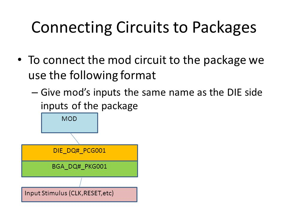 Connecting Circuits to Packages To connect the mod circuit to the package we use the following format – Give mod's inputs the same name as the DIE sid