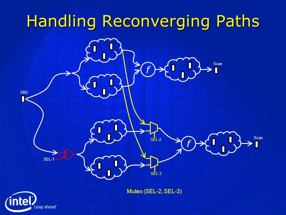 Handling Reconverging Paths Scan f f SRC SEL-1 SEL-2SEL-3 Mutex (SEL-2, SEL-3)