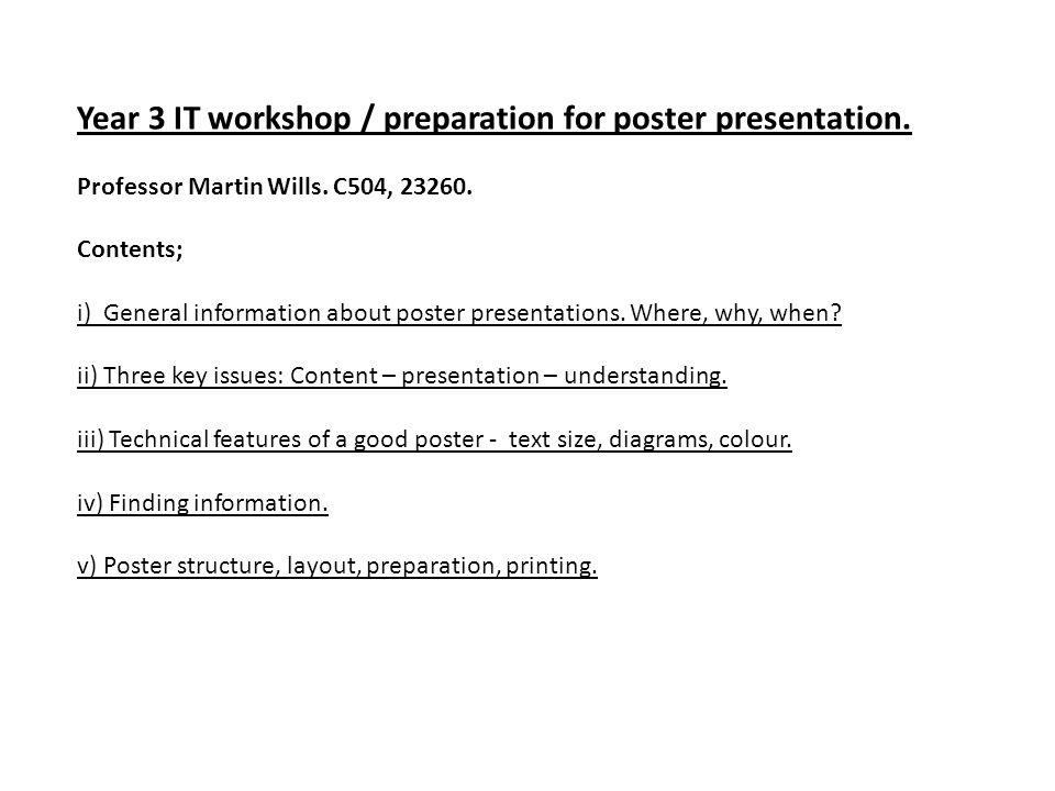 Year 3 IT workshop / preparation for poster presentation.