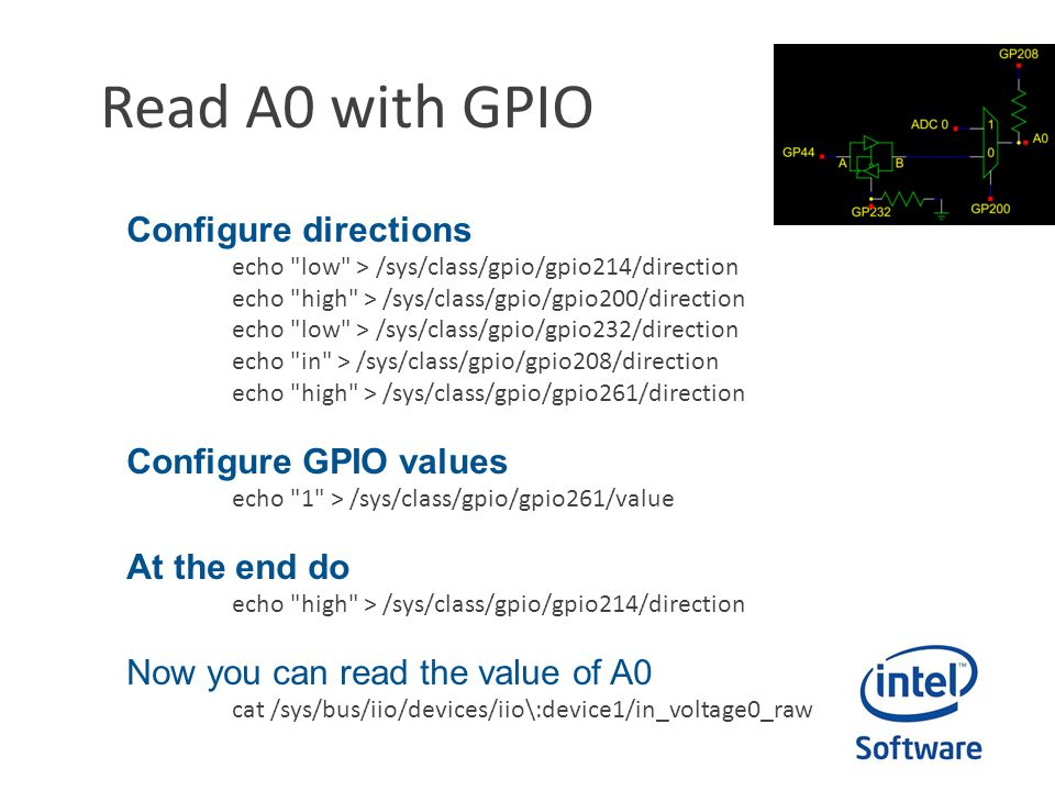 Read A0 with GPIO Configure directions echo