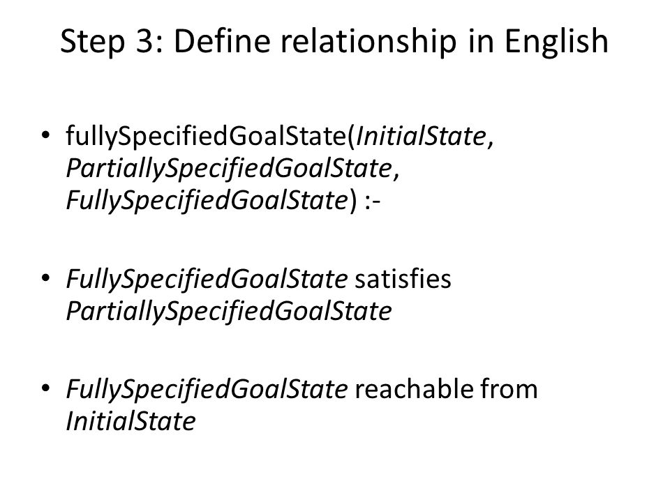 Step 3: Define relationship in English fullySpecifiedGoalState(InitialState, PartiallySpecifiedGoalState, FullySpecifiedGoalState) :- FullySpecifiedGoalState satisfies PartiallySpecifiedGoalState FullySpecifiedGoalState reachable from InitialState