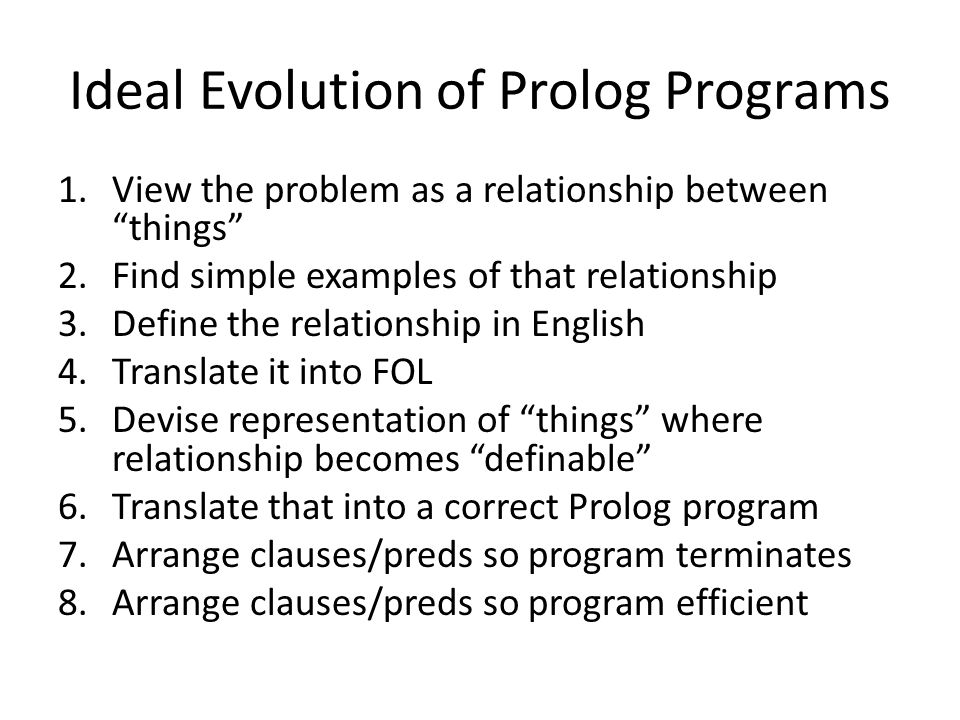 Ideal Evolution of Prolog Programs 1.View the problem as a relationship between things 2.Find simple examples of that relationship 3.Define the relationship in English 4.Translate it into FOL 5.Devise representation of things where relationship becomes definable 6.Translate that into a correct Prolog program 7.Arrange clauses/preds so program terminates 8.Arrange clauses/preds so program efficient