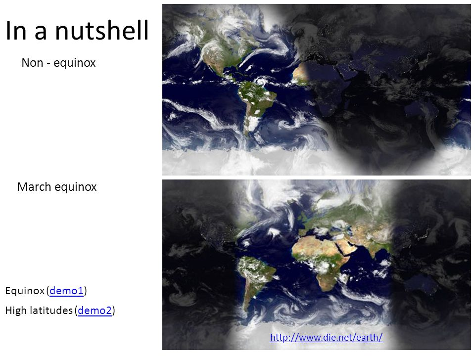 In a nutshell March equinox Non - equinox Equinox (demo1)demo1 High latitudes (demo2)demo2 http://www.die.net/earth/