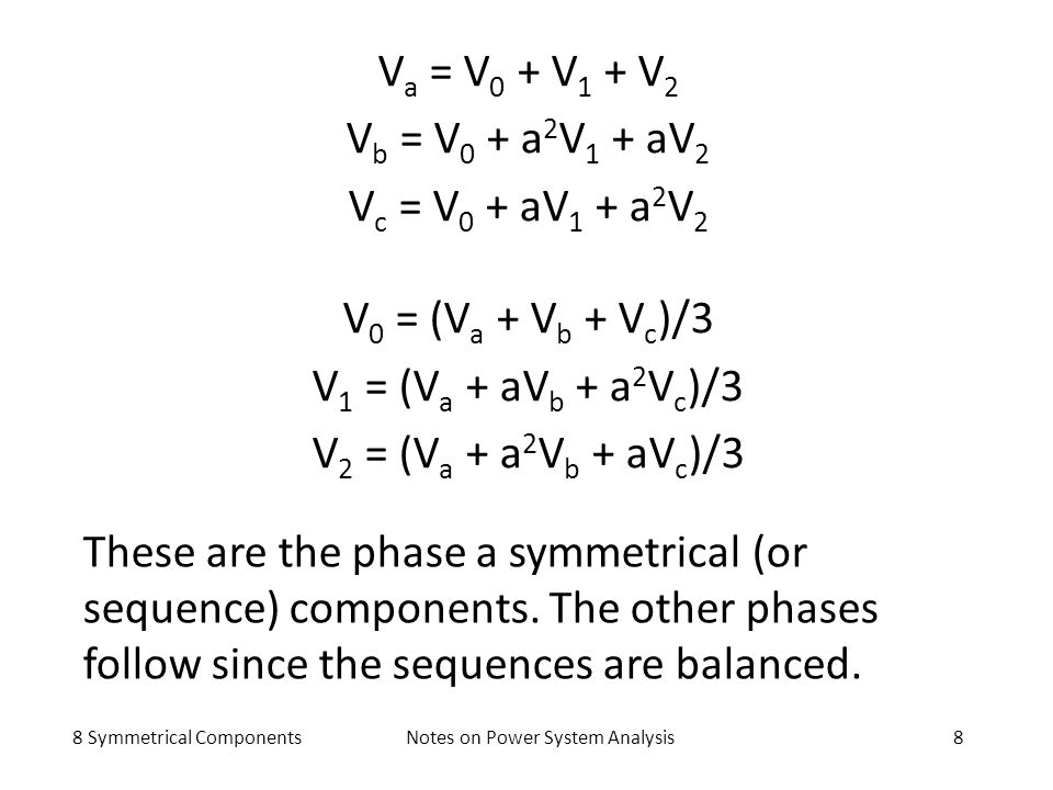 8 Symmetrical ComponentsNotes on Power System Analysis8 V a = V 0 + V 1 + V 2 V b = V 0 + a 2 V 1 + aV 2 V c = V 0 + aV 1 + a 2 V 2 V 0 = (V a + V b +