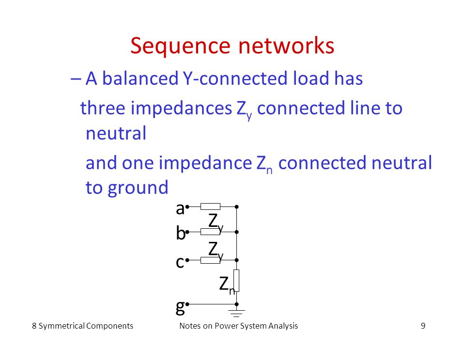 8 Symmetrical ComponentsNotes on Power System Analysis9 Sequence networks –A balanced Y-connected load has three impedances Z y connected line to neut