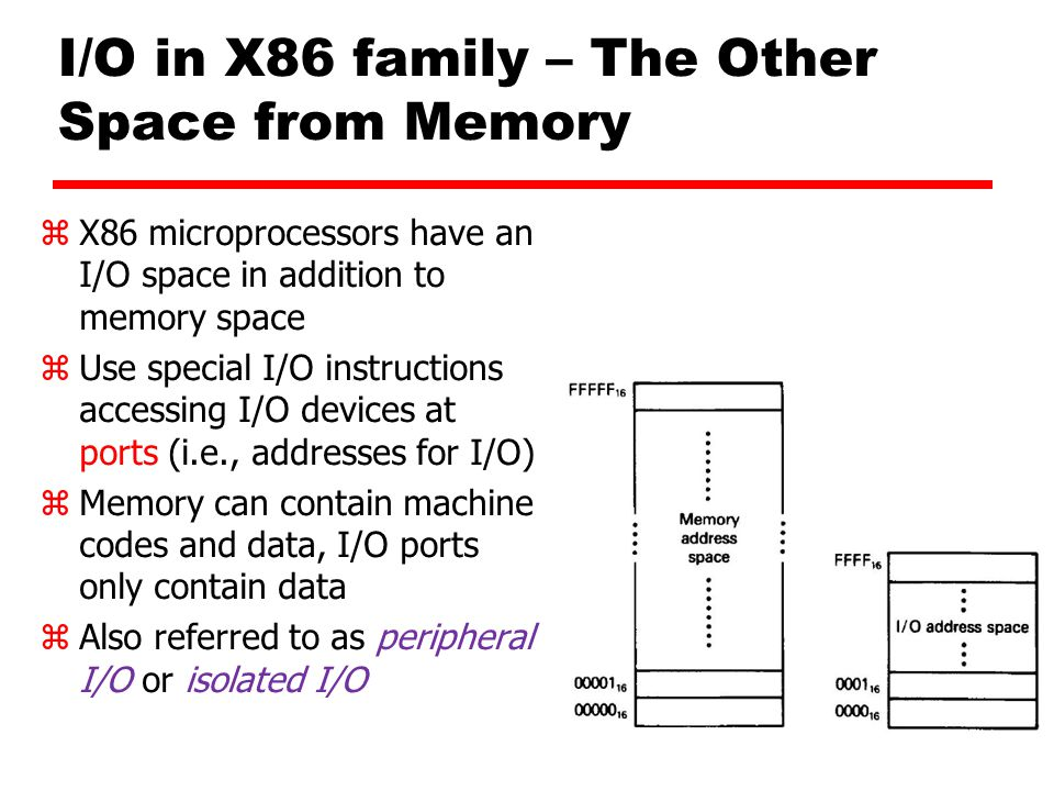I/O in X86 family – The Other Space from Memory zX86 microprocessors have an I/O space in addition to memory space zUse special I/O instructions accessing I/O devices at ports (i.e., addresses for I/O) zMemory can contain machine codes and data, I/O ports only contain data zAlso referred to as peripheral I/O or isolated I/O