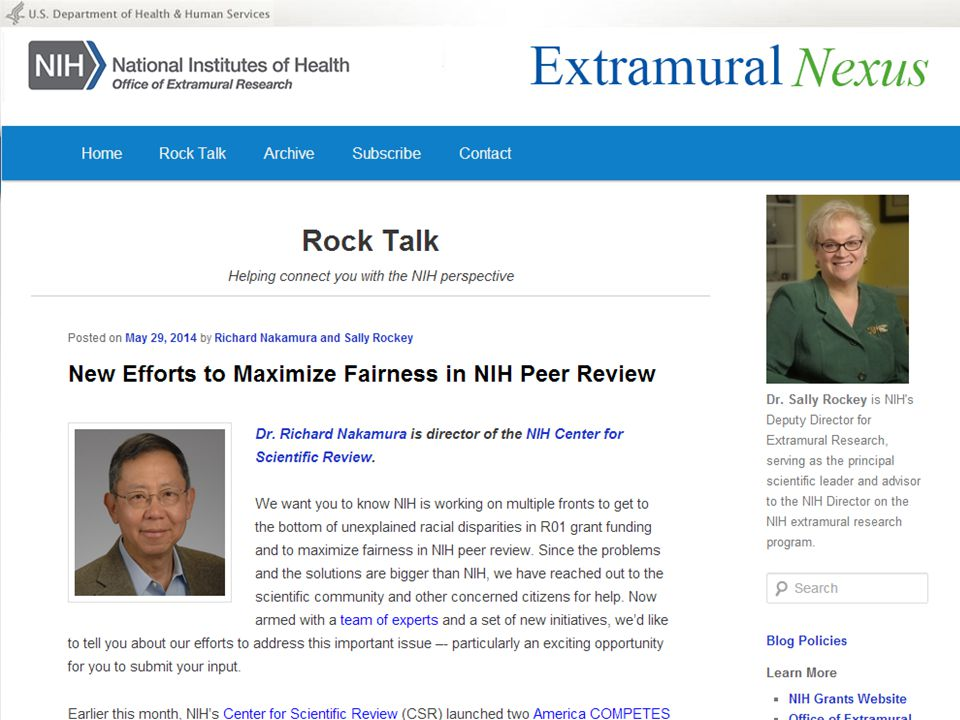 Rock Talk – New Efforts to Maximize Fairness in NIH Peer Review