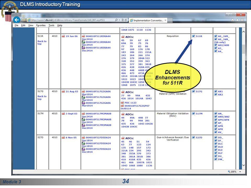 Module 3 34 DLMS Introductory Training DLMS Enhancements for 511R