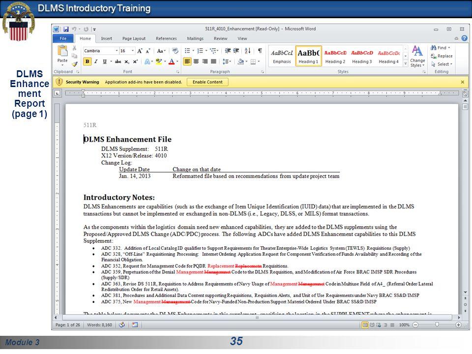 Module 3 35 DLMS Introductory Training DLMS Enhance ment Report (page 1)