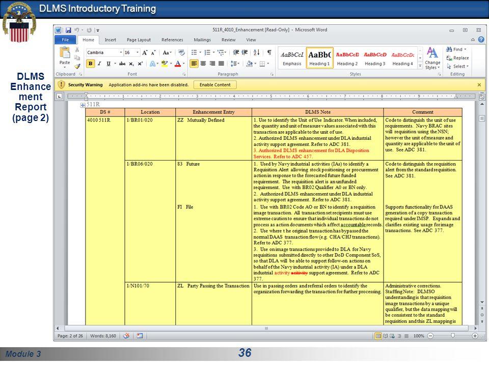 Module 3 36 DLMS Introductory Training DLMS Enhance ment Report (page 2)