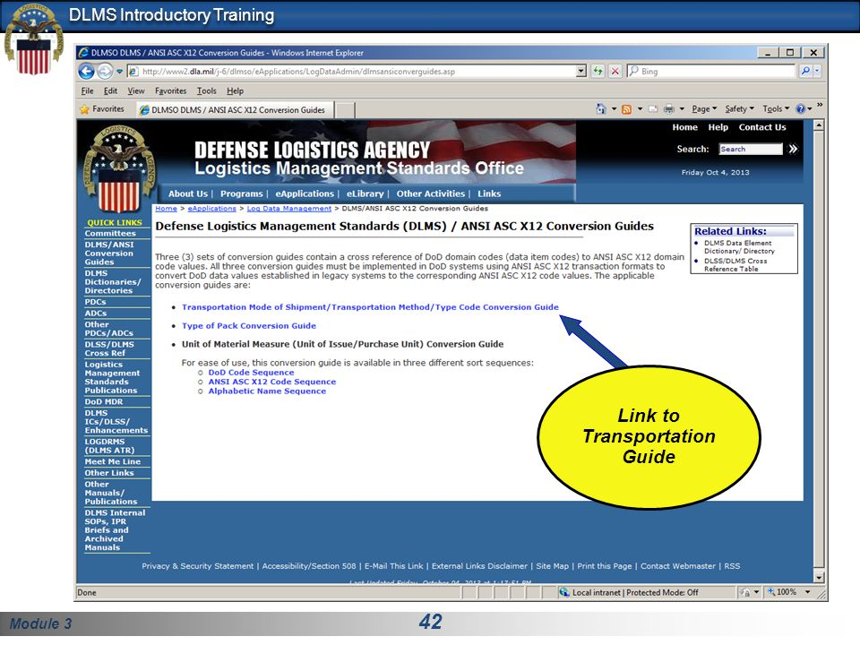 Module 3 42 DLMS Introductory Training Link to Transportation Guide