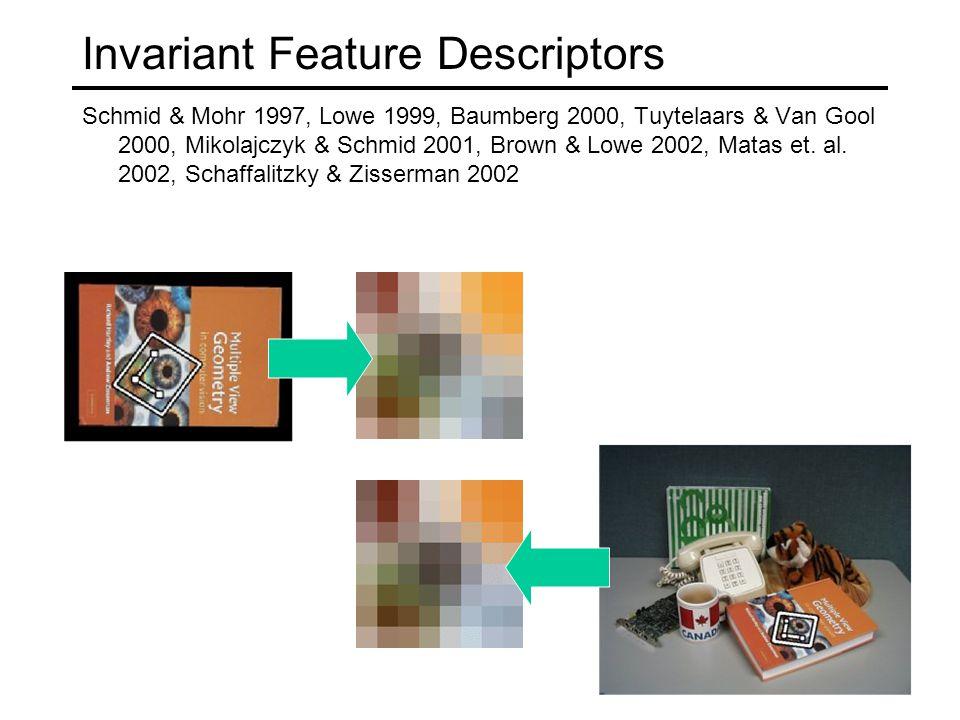 Invariant Feature Descriptors Schmid & Mohr 1997, Lowe 1999, Baumberg 2000, Tuytelaars & Van Gool 2000, Mikolajczyk & Schmid 2001, Brown & Lowe 2002, Matas et.