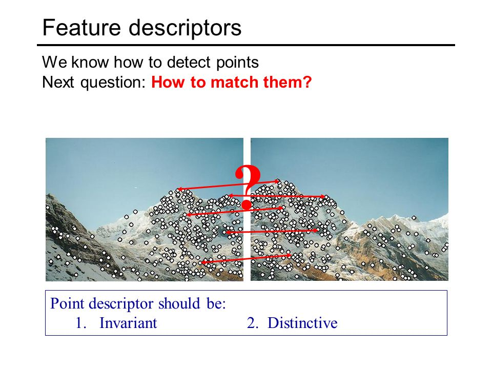 Feature descriptors We know how to detect points Next question: How to match them.
