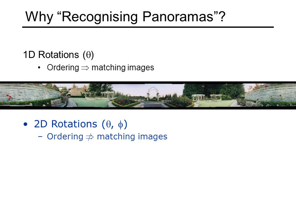 Why Recognising Panoramas .