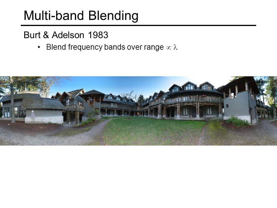 Multi-band Blending Burt & Adelson 1983 Blend frequency bands over range 