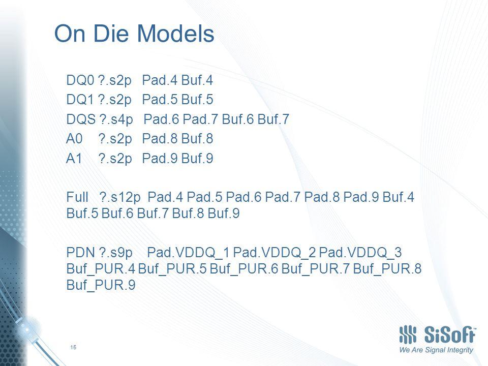 Merging On-Die Model into Package Model DQ0 ?.s2p Pin.4 Buf.4 DQ1 ?.s2p Pin.5 Buf.5 DQS ?.s4p Pin.6 Pin.7 Buf.6 Buf.7 A0 ?.s2p Pin.8 Buf.8 A1 ?.s2p Pin.9 Buf.9 Full ?.s12p Pin.4 Pin.5 Pin.6 Pin.7 Pin.8 Pin.9 Buf.4 Buf.5 Buf.6 Buf.7 Buf.8 Buf.9 PDN ?.s5p Pin.1 Pin.2 Buf_PUR.4 Buf_PUR.5 Buf_PUR.6 Buf_PUR.7 Buf_PUR.8 Buf_PUR.9 16