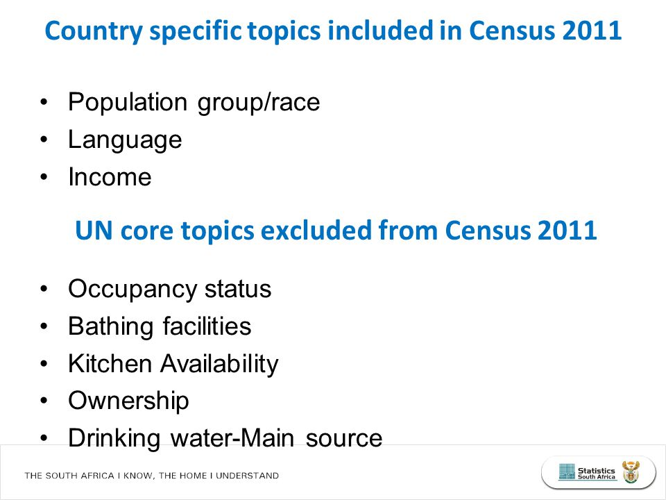 Population group/race Language Income Occupancy status Bathing facilities Kitchen Availability Ownership Drinking water-Main source Country specific topics included in Census 2011 UN core topics excluded from Census 2011