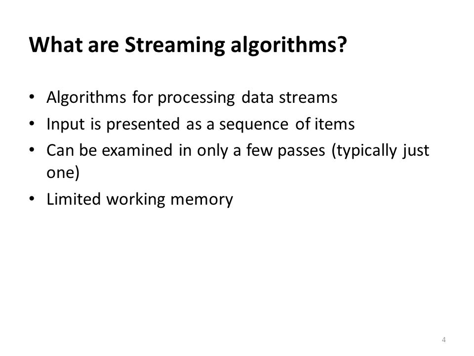 Overview Introduction to Streaming Algorithms Sampling Techniques Sketching Techniques Break Counting Distinct Numbers Q&A