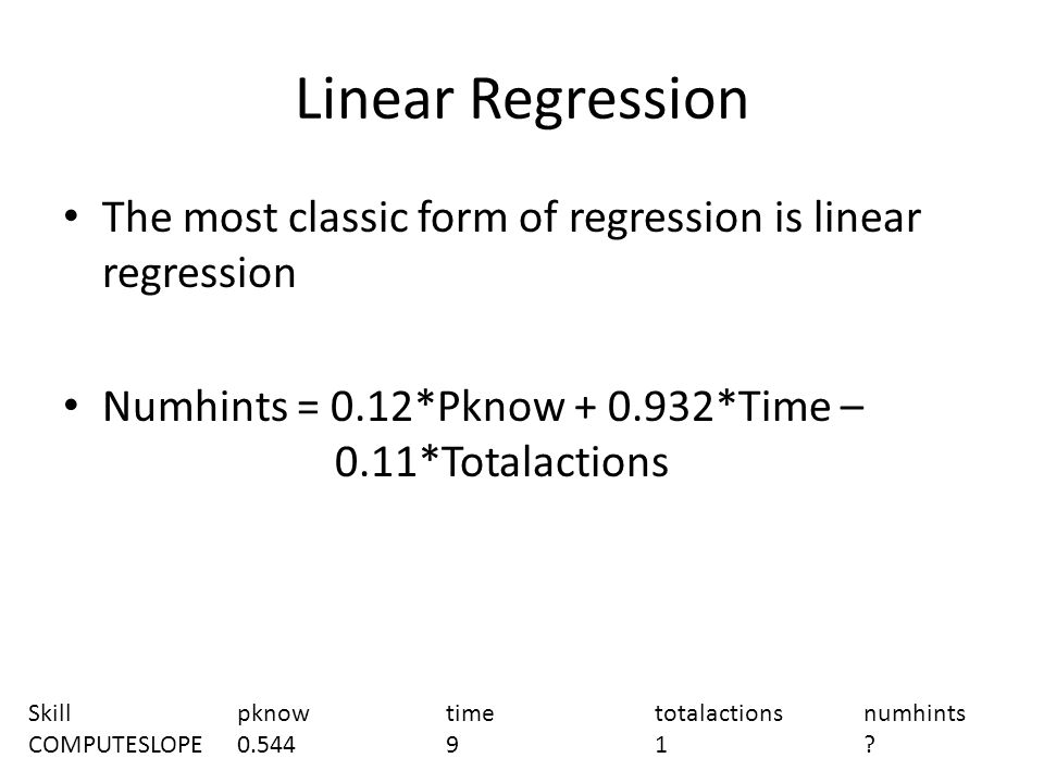 Linear Regression The most classic form of regression is linear regression Numhints = 0.12*Pknow + 0.932*Time – 0.11*Totalactions Skillpknowtimetotalactionsnumhints COMPUTESLOPE0.54491
