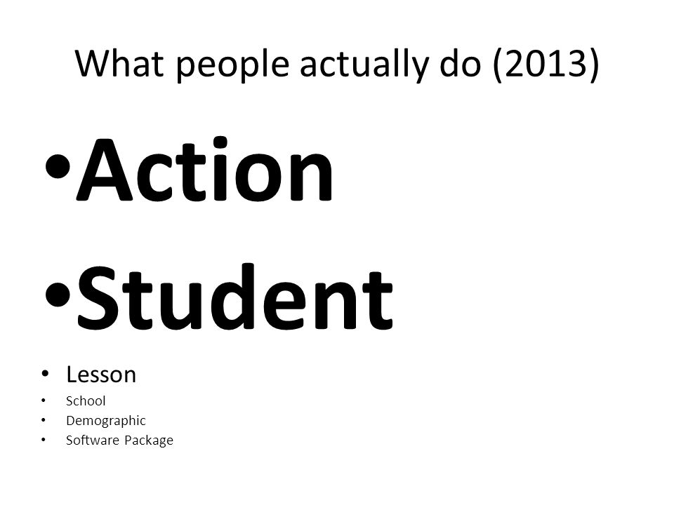 What people actually do (2013) Action Student Lesson School Demographic Software Package